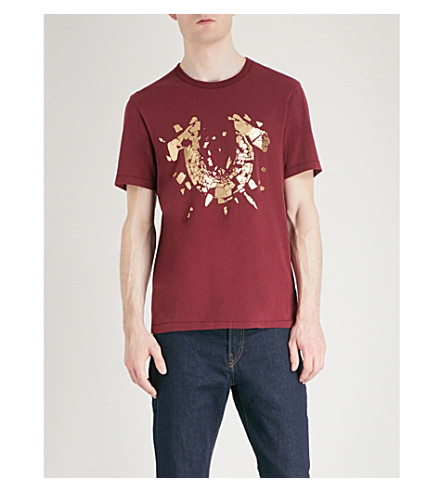 TRUE RELIGION Metallic-logo cotton-jersey T-shirt (Oxblood
