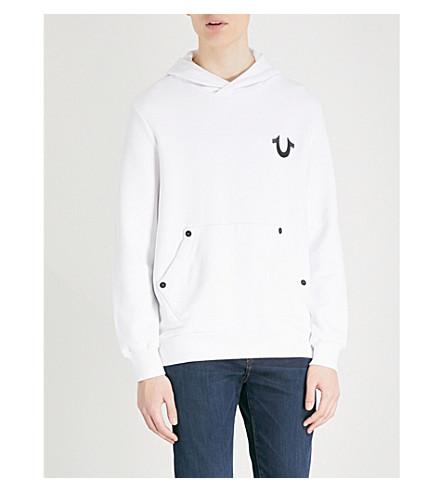 TRUE RELIGION Logo-printed cotton-jersey hoody (Optic+white+w/+black