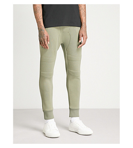 NEIL BARRETT Panelled slim-leg cotton-jersey jogging bottoms (Green