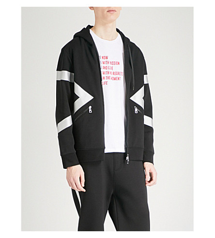 NEIL BARRETT Metallic graphic-print jersey hoody (Blk