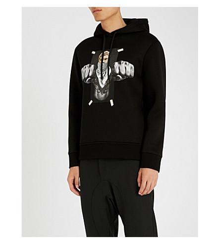 NEIL BARRETT Jersey hoody (Black