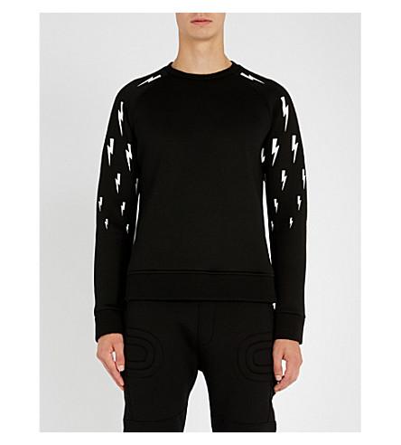 NEIL BARRETT Lightning bolt-print stretch-jersey sweatshirt
