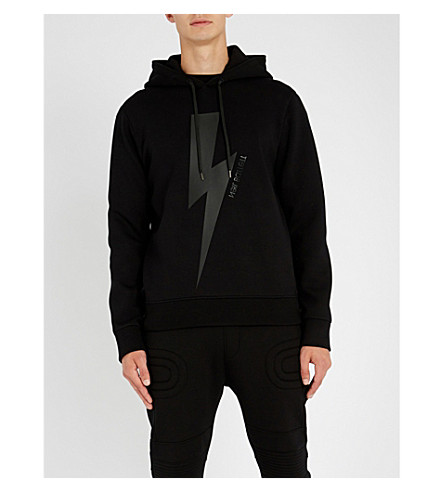 NEIL BARRETT Lightning bolt-print stretch-jersey hoody