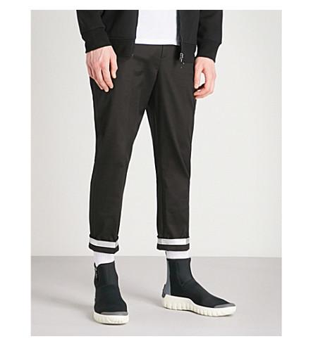 NEIL BARRETT Silver-trim regular-fit cropped cotton-twill trousers (Blk