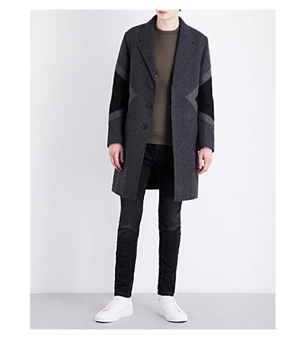 NEIL BARRETT Modernist wool-blend coat (Chblksl