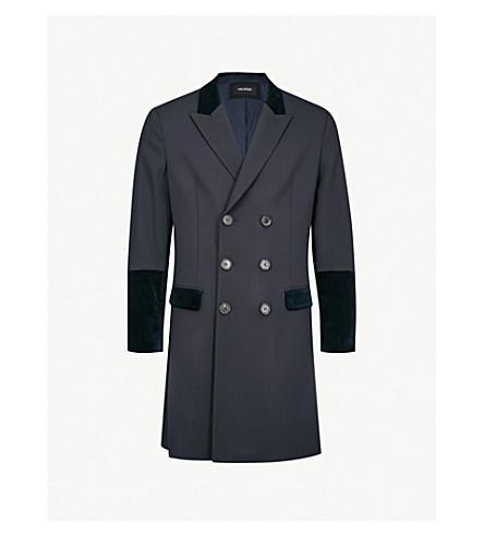 NEIL BARRETT Velvet-trim stretch-wool coat (Navy