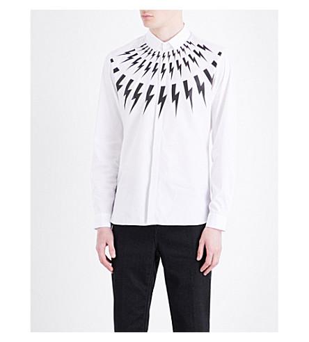 NEIL BARRETT Lightning-print slim-fit cotton shirt (Whiteblack