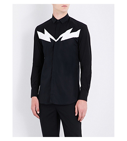 NEIL BARRETT Lightning bolt slim-fit cotton shirt (Blkwhte