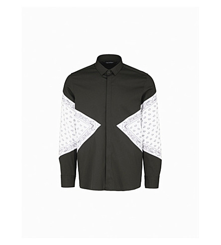 NEIL BARRETT Bandana-print loose-fit cotton-blend shirt (Black