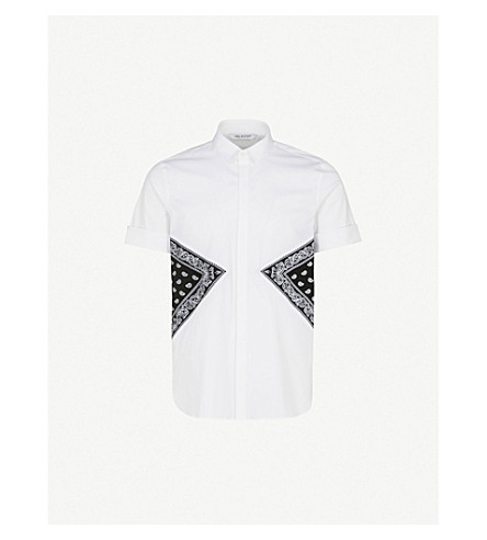 NEIL BARRETT Bandana-print cotton-blend shirt (White