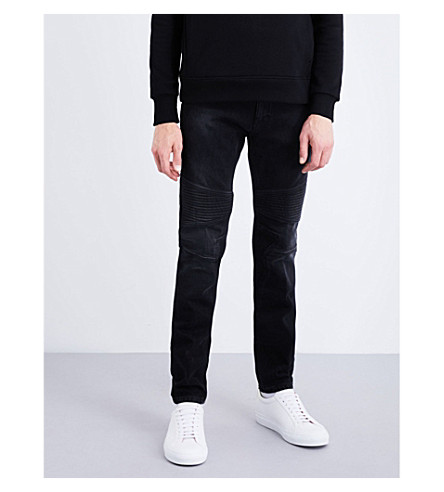 NEIL BARRETT Biker tapered slim-fit mid-rise jeans (Black