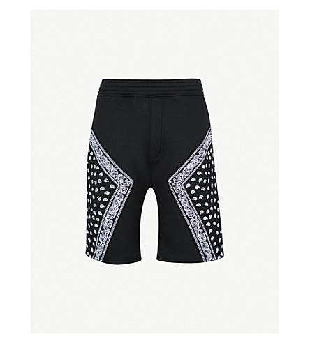 NEIL BARRETT Bandana-print neoprene shorts (Black