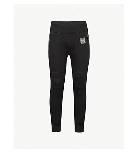 NEIL BARRETT Ring-embellished slim-fit jersey jogging bottoms (Black