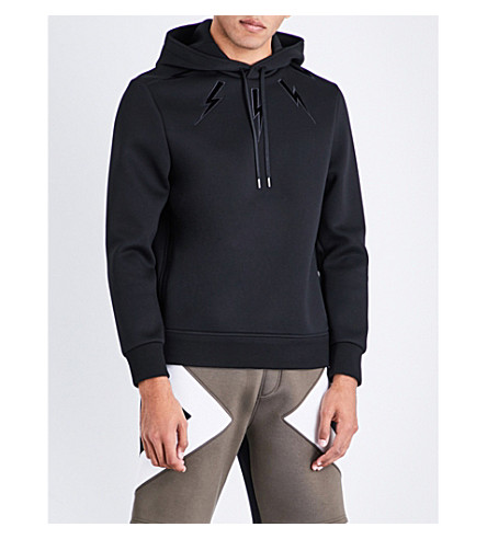 NEIL BARRETT Lightning bolt jersey hoody (Black