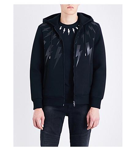 NEIL BARRETT Lightning bolt-print neoprene hoody (Black