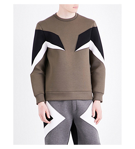 NEIL BARRETT Military Modernist neoprene sweatshirt (Miblkoff