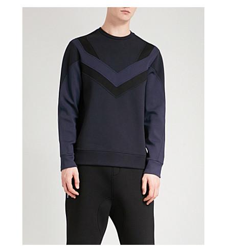 NEIL BARRETT Panel-detail cotton-jersey sweatshirt (Navy