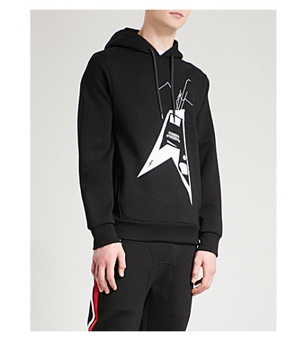 NEIL BARRETT Tour Date neoprene hoody (Black