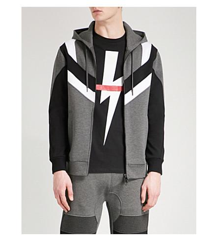 NEIL BARRETT Panelled neoprene hoody (Grey