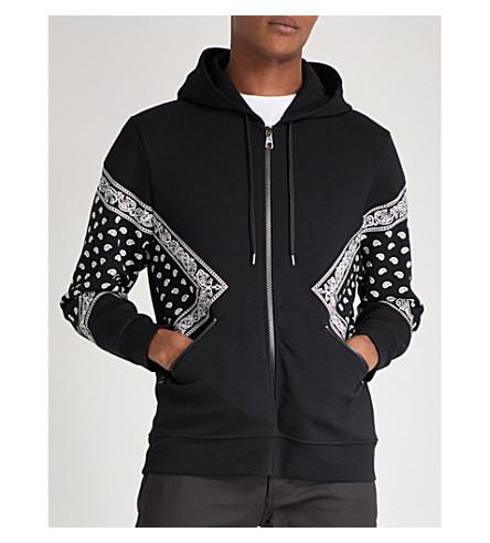 NEIL BARRETT Bandana-print cotton hoody (Black