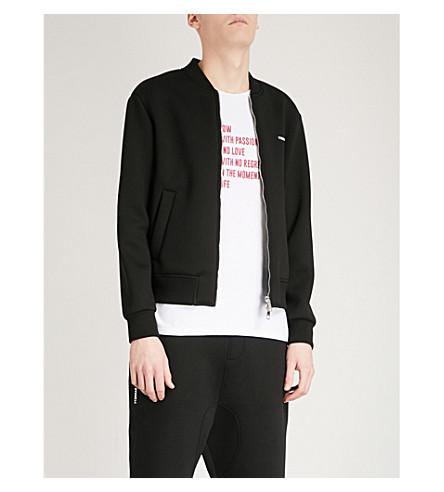 NEIL BARRETT Lightning bolt print neoprene bomber jacket (Black