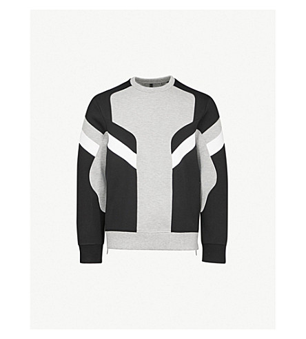 NEIL BARRETT Panelled stretch-jersey sweatshirt (Grey