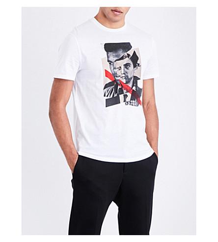 NEIL BARRETT Face-print cotton-jersey T-shirt (White