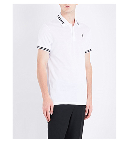 NEIL BARRETT Lightning bolt cotton-piqué polo shirt (Whiteblack