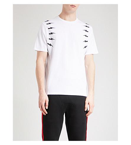 NEIL BARRETT 螺栓打印平纹针织棉 T 恤 (白色