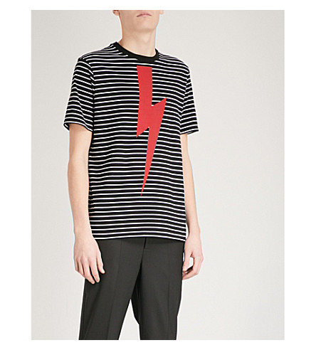 NEIL BARRETT T-Bolt striped cotton-jersey T-shirt (Black