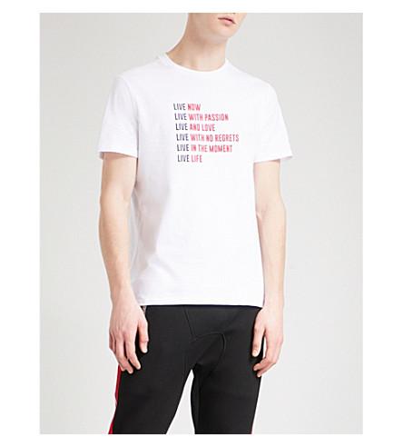 NEIL BARRETT Slogan-print cotton-jersey T-shirt (White
