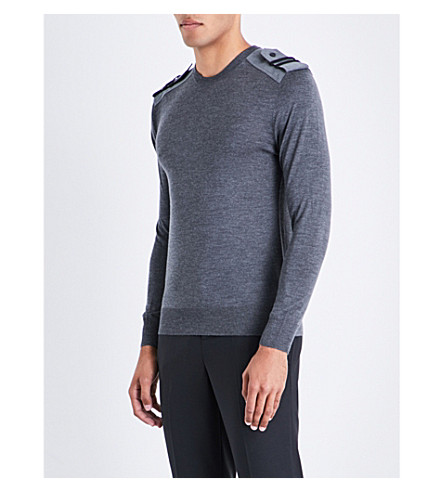NEIL BARRETT Military wool silk and cashmere-blend jumper (Slatemelange