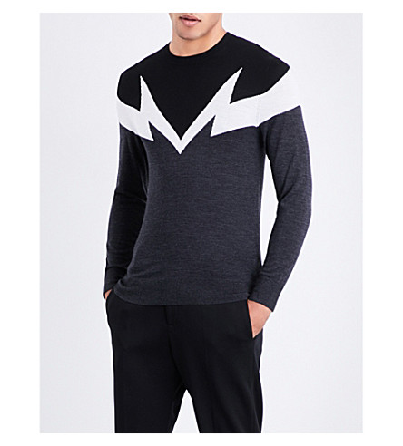 NEIL BARRETT Bolt wool jumper (Choffblk