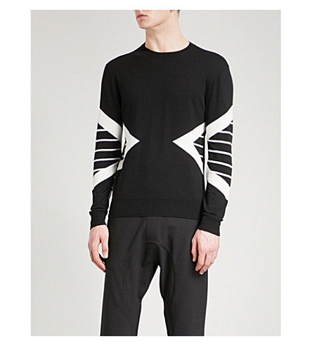 NEIL BARRETT Side stripe knitted cotton jumper (Black