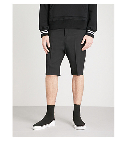 NEIL BARRETT Striped neoprene shorts (Black