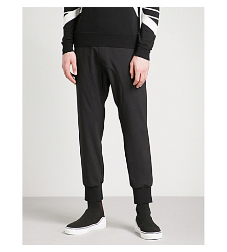 NEIL BARRETT Dropped crotch gabardine jogging bottoms (Black