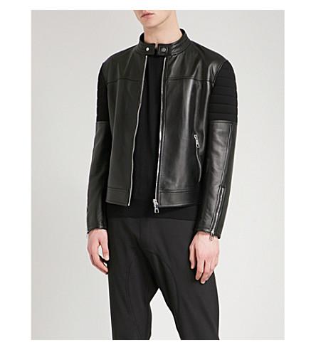 NEIL BARRETT Panelled leather and neoprene biker jacket (Black