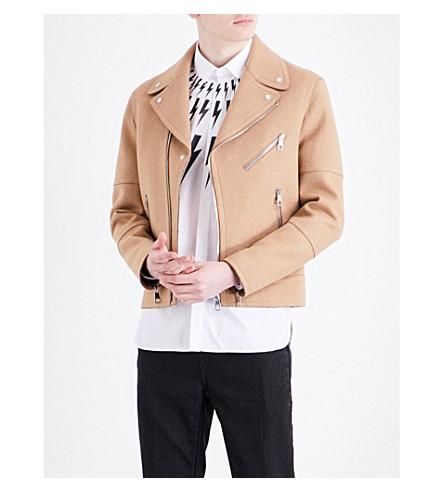 NEIL BARRETT Biker double-faced wool-blend jacket (Camel