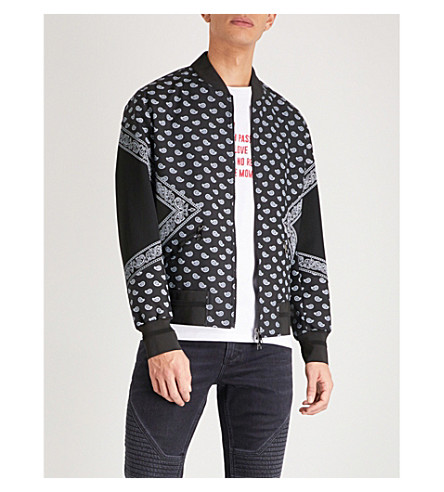 NEIL BARRETT Bandana-print shell bomber jacket (Black