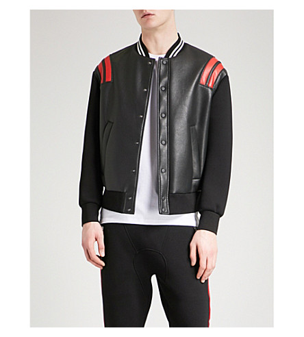 NEIL BARRETT Faux-leather and neoprene bomber jacket (Black