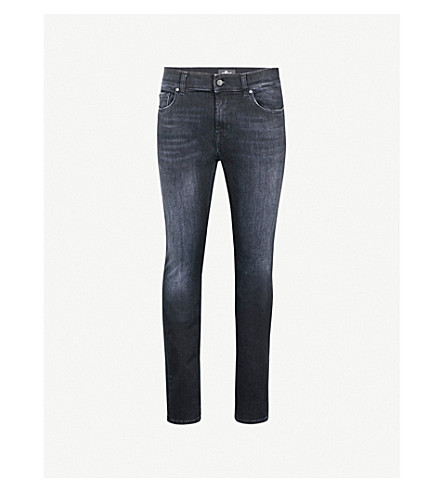 7 FOR ALL MANKIND Ronnie Luxe Performance skinny-fit jeans (Washed+black