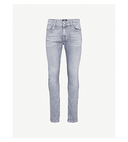 7 FOR ALL MANKIND Ronnie Luxe Performance skinny-fit jeans (Mid+grey