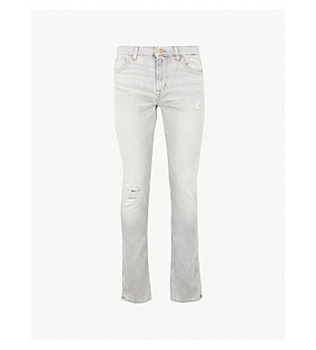 7 FOR ALL MANKIND Ronnie Hang Town skinny-fit comfort-stretch jeans (Light grey