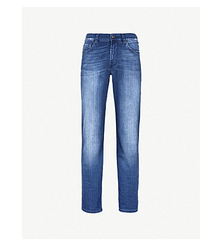 7 FOR ALL MANKIND Standard Luxe Performance regular-fit straight jeans (Bright+blue