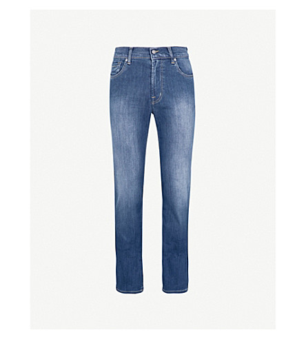7 FOR ALL MANKIND Standard Luxe Performance regular-fit straight jeans (Mid+blue