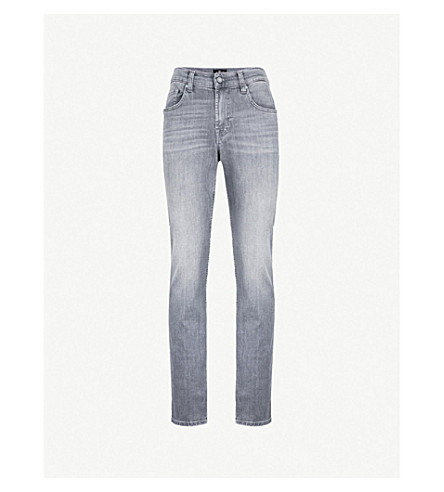 7 FOR ALL MANKIND Slimmy Luxe Performance slim-fit tapered jeans (Mid+grey