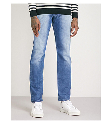 7 FOR ALL MANKIND Slimmy Luxe Performance slim-fit jeans (Pearl+mid+blue