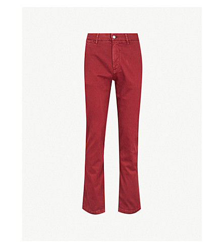 7 FOR ALL MANKIND Slimmy regular slim-fit straight cotton-blend chinos (Crimson red