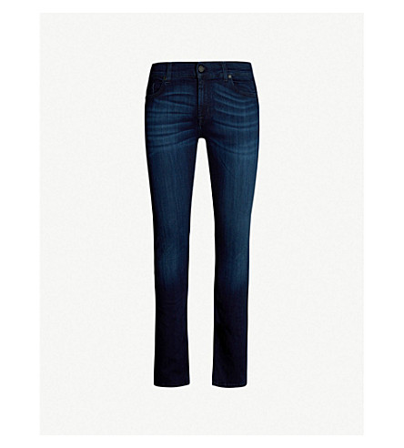 7 FOR ALL MANKIND Ronnie Luxe faded regular-fit skinny jeans (Plus deep blue
