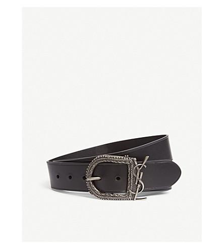 SAINT LAURENT Monogram Berbere leather belt (Black